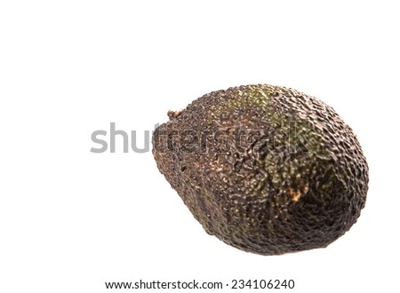 Ripe avocado fruit over white background