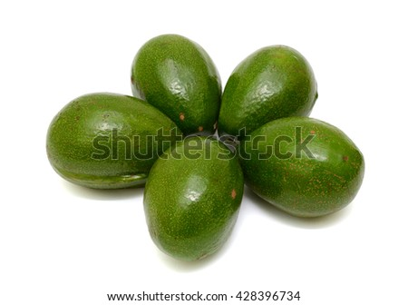 Ripe Avocado fruits isolated on white background