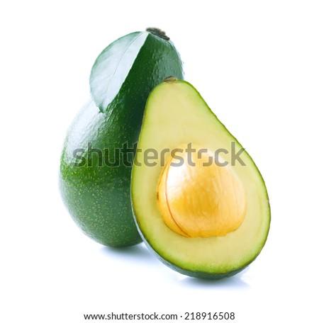 Ripe avocado isolated on white background. - stock photo