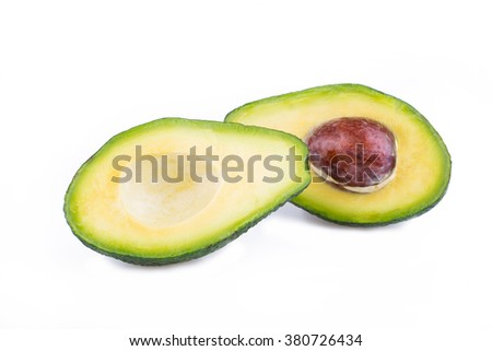 Ripe avocado slices isolated on a white background.