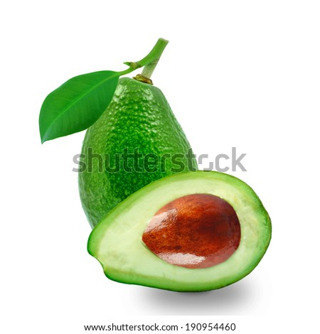 ripe avocados with leaf on white background