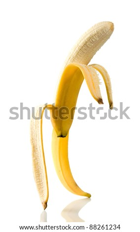 Ripe banana very similar to the person.