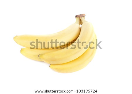 Ripe bananas isolated on a white background