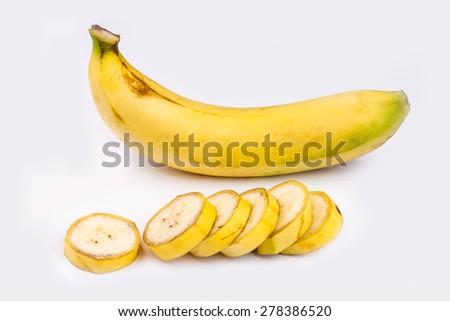 Ripe bananas  on white backgroud - stock photo