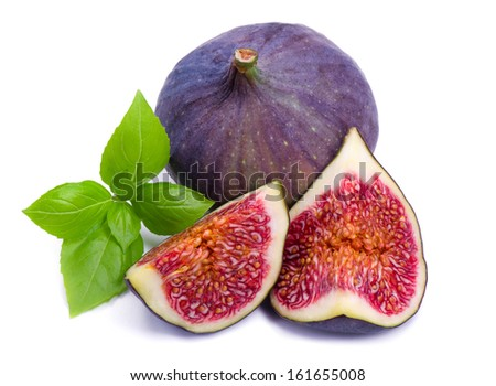 Ripe, beautiful fig with green leaf basil isolated on white - stock photo