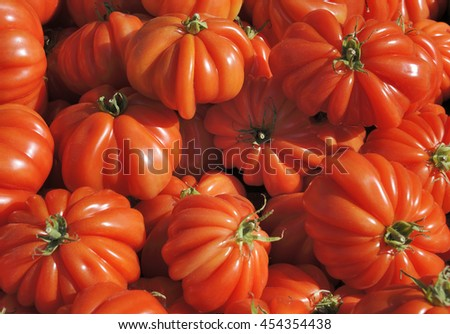 Ripe beefsteak tomatoes at a greengrocer in France