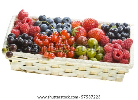 ripe berries set  in the box isolated on white background - stock photo