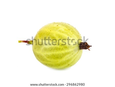 Ripe berry of gooseberry it is isolated on a white background