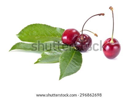 Ripe berry of sweet cherry it is isolated on a white background