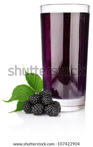 ripe blackberry with green leaf and juice in glass isolated on white background - stock photo