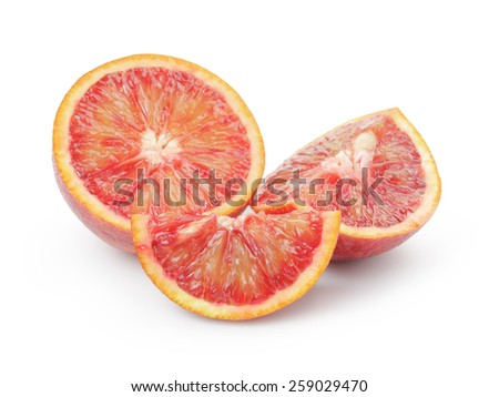 ripe blood red oranges sliced isolated on white - stock photo