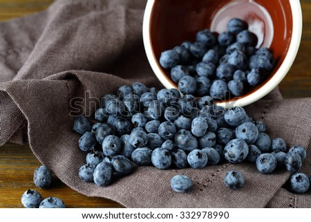 ripe blueberries on napkin, food close-up