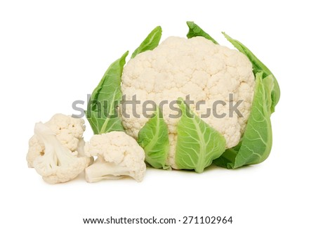Ripe cauliflower with green leaves isolated on white background - stock photo