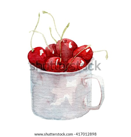 ripe cherry - hands painted with watercolors  - stock photo