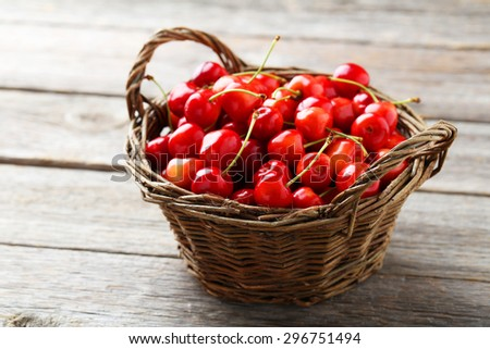 Ripe cherry in basket on grey wooden background