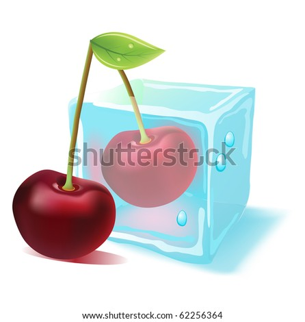 Ripe cherry in ice cube. Raster version. Vector version is in my gallery - stock photo