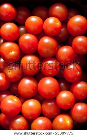 Ripe cherry tomatoes: close up - stock photo