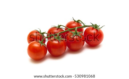 ripe cherry tomatoes isolated on white background.