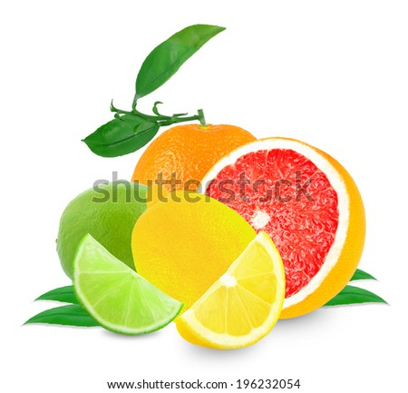Ripe citrus fruit pieces on white background