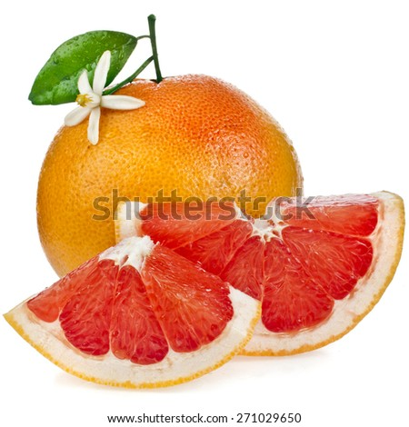 ripe citrus grapefruit  sliked close up isolated on white background - stock photo