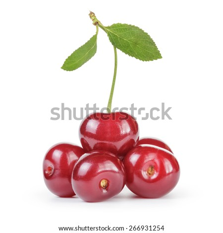 ripe clean cherries isolated on white background - stock photo