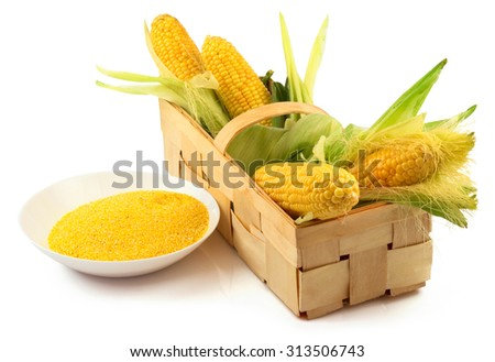 Maize stock images royalty free images vectors shutterstock ripe corn with green leaves and a plate of maize flour in the wooden box isolated voltagebd Image collections