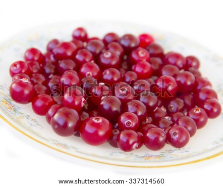 Ripe cranberries on a plate - stock photo