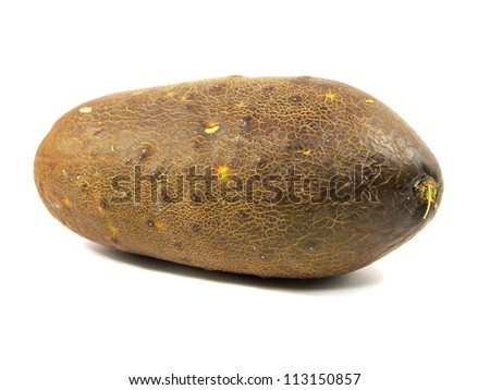 Ripe cucumber on a white background