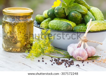 Ripe cucumbers in metal bowl, spices for pickling and jar pickled cucumbers on old wooden white table in garden on sunny day, food and nutrition - stock photo