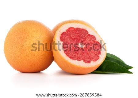 Ripe cut red grapefruit isolated on white background - stock photo