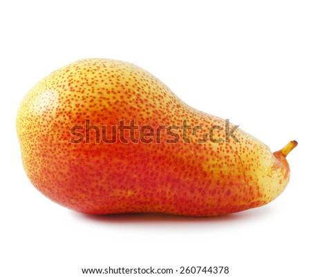 Ripe delicious pear on white background - stock photo