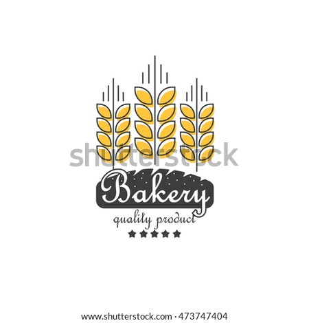 Ripe ears of cereals and bakery logo element, concept for organic products line outline style logotype, harvest, linear grain, healthy food symbol isolated on white background image