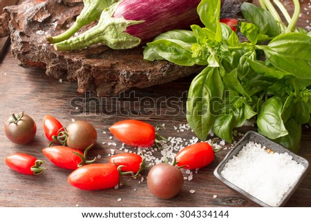 ripe eggplant with tomatoes and salt on a wooden background - stock photo