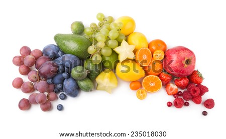 ripe fesh fruits as a rainbow - stock photo