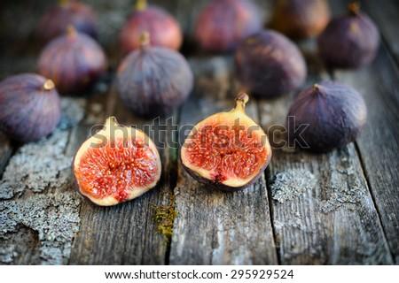 Ripe fig fruits close-up - stock photo