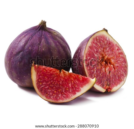 Ripe Figs fruits isolated on white background - stock photo