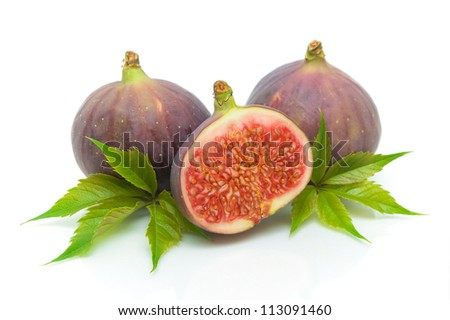ripe figs isolated on a white background close-up - stock photo