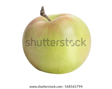 Ripe, fresh apple isolated on white background. Perfectly retouched with clear details. Full depth of field. Fruit photographed in Studio on white background