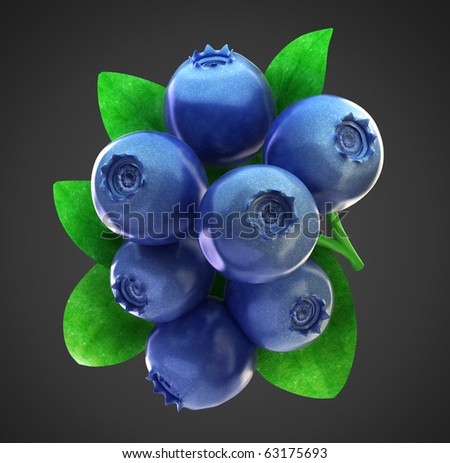 Ripe fresh blueberries and leaves with clipping path