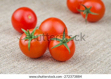 Ripe Fresh Cherry Tomatoes on Coarse Fabric or Bagging Background - stock photo