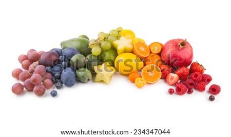 ripe fresh fruits as a rainbow - stock photo