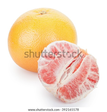 Ripe fresh Grapefruit with half on white background. Clipping Path