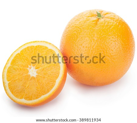 Ripe fresh orange and half on a white isolated. Clipping Path