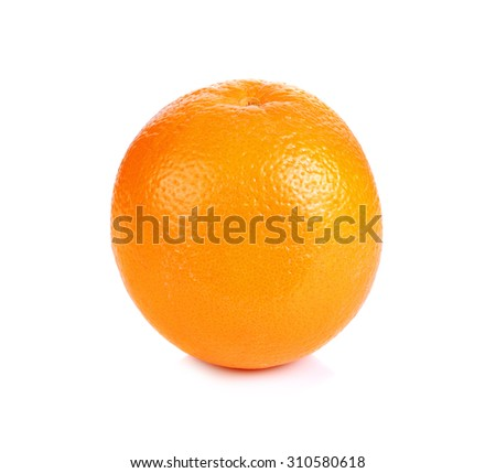 Ripe fresh orange on a white background.