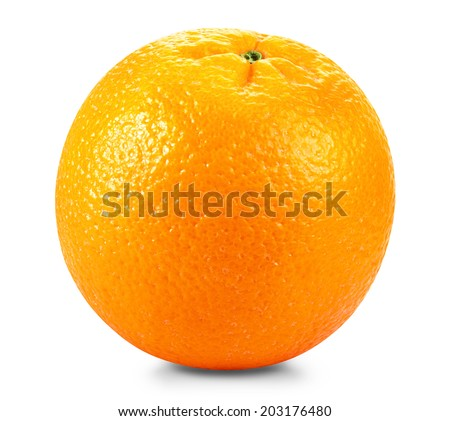 Ripe fresh orange on a white background. Clipping Path - stock photo