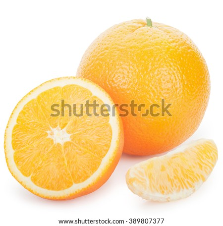 Ripe fresh orange, slice and half on a white background. Clipping Path