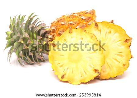 ripe fresh pineapple isolated on white background - stock photo