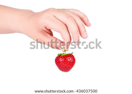 Ripe fresh strawberry in hand on white background - stock photo