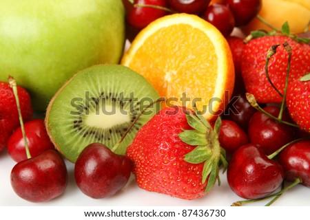 Ripe fruit and berries - stock photo