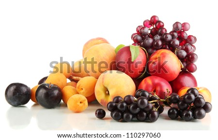 Ripe fruit and berries isolated on white - stock photo